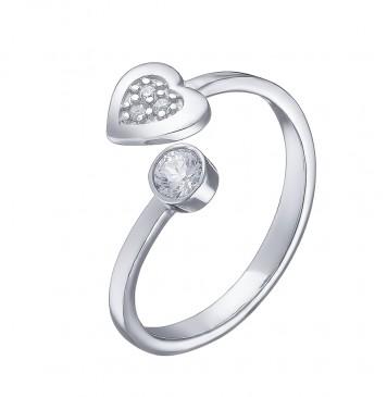 """Серебряное кольцо """"Сердце Круг"""" 1021"""