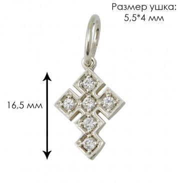 Серебряный крест с куб. цирконием 3208