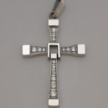 Серебряный крестик с камнями 32104