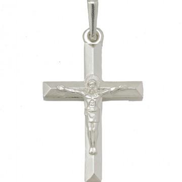 Серебряный нательный крестик с Распятием Христа 3295