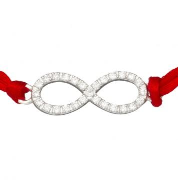 Красный шелковый браслет с серебряной вставкой Бесконечность Маленькая с камнями 4002-kr