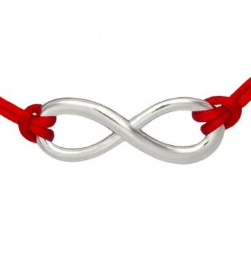 Красный шелковый браслет с серебряной вставкой Бесконечность Большая Гладкая 4003-kr
