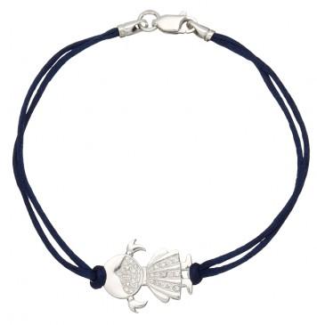 Синий шелковый браслет с серебряной вставкой Девочка с камнями 4004-sin