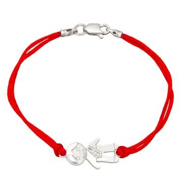 Красный шелковый браслет с серебряной вставкой Мальчик с камнями 4005-kr