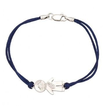 Синий шелковый браслет с серебряной вставкой Мальчик с камнями 4005-sin