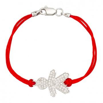 Красный шелковый браслет с серебряной вставкой Мальчик с камнями 4011-kr