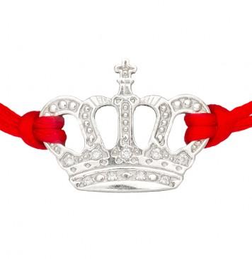 Красный шелковый браслет с серебряной вставкой Корона с камнями 4015-kr