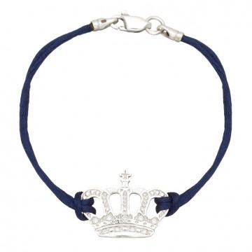 Синий шелковый браслет с серебряной вставкой Корона с камнями 4015-sin