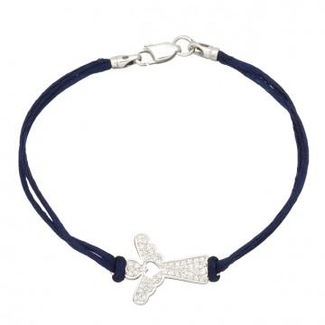 Синий шелковый браслет с серебряной вставкой Ангел 4018-sin
