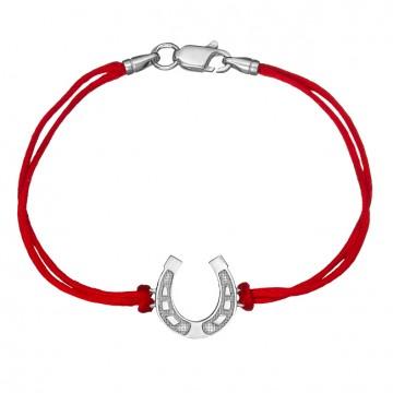 Красный шелковый браслет с серебряной вставкой Подкова НА СЧАСТЬЕ 4020-kr