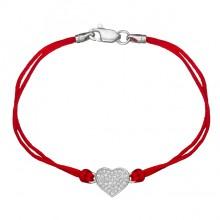 Красный шелковый браслет с серебряной вставкой Сердце с камнями 4026-kr