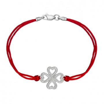 Красный шелковый браслет с серебряной вставкой Клевер с камнями 4038-kr