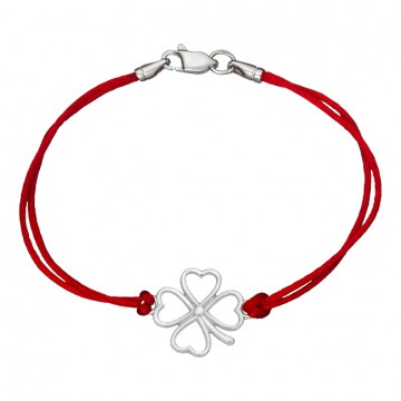 Красный шелковый браслет с серебряной вставкой Клевер 4 листный 4039-kr