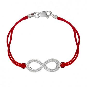 Красный шелковый браслет с серебряной вставкой Бесконечность с камнями 4041-kr