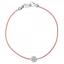 Красная шамбола браслет с серебряной вставкой Цветок с камнями 4071-kr