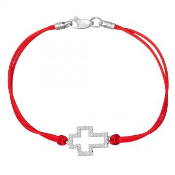 Красный шелковый браслет с серебряной вставкой Крестик с камнями 4078-kr