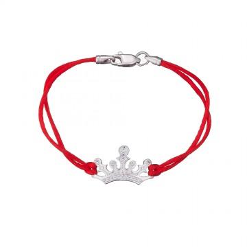 Красный шелковый браслет с серебряной вставкой Корона 4114-kr