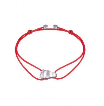 Безразмерный красный браслет с серебряной вставкой Стопа 4117-kr
