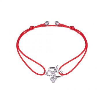 Безразмерный красный браслет с серебряной вставкой Ангел с сердем 4126-kr
