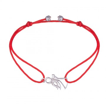 Безразмерный красный браслет с серебряной вставкой Ангел с камнем 4127-kr
