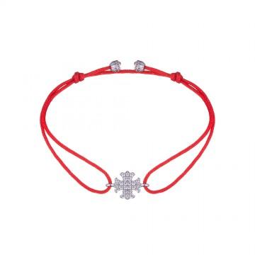 Безразмерный красный браслет с серебряной вставкой Лилия 4135-kr