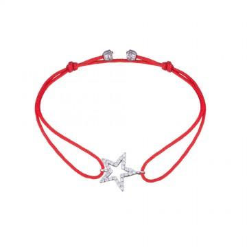 Безразмерный красный браслет с серебряной вставкой Звезда с Камнями 4138-kr