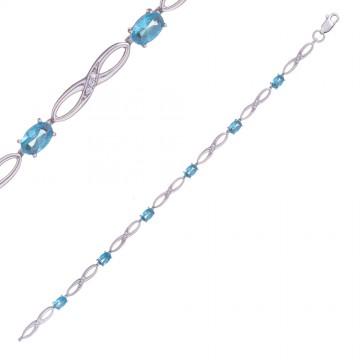 Серебряный браслет Восьмерка с голубым камнем 4303-1