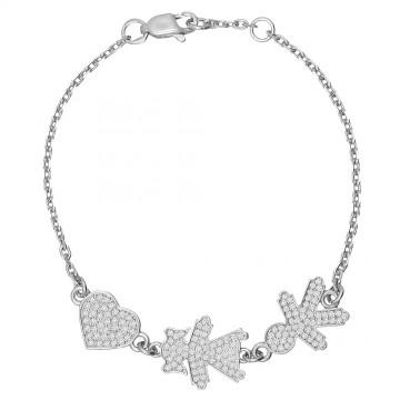 """Cеребряный браслет для мам """"Сердце Девочка Мальчик"""" 4315"""