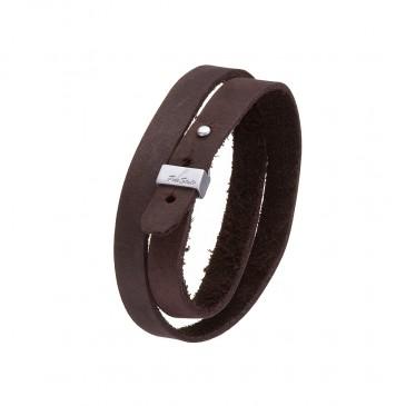 Кожаный коричневый браслет с серебряным замком FreeStyle 4401-Ko