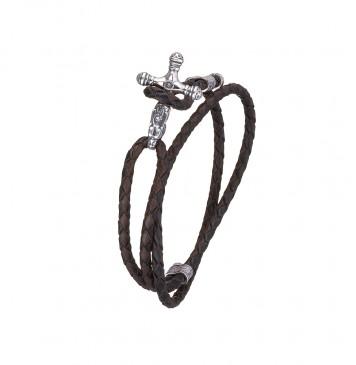 Плетеная черно-коричневая кожа с серебряными вставками Крест Дракон 4402-4k