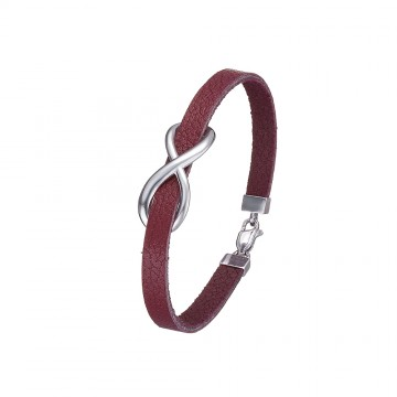 Браслет кожаный цвет марсала с серебряной вставкой Бесконечность 4404-Mr