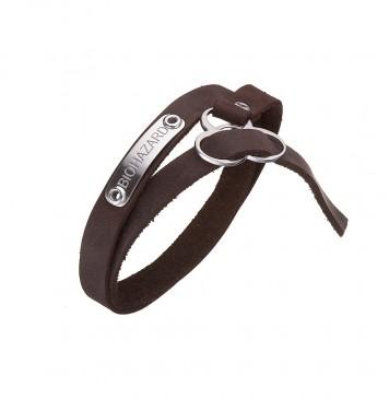 """Безразмерный кожаный браслет коричневого цвета с серебряными вставками """"BIOHAZARD"""" 4413-Ko"""