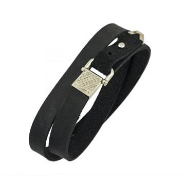 """Безразмерный кожаный браслет черного цвета с серебряным замком """"Карабин"""" 4416-4"""