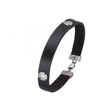 Плоский кожаный браслет черного цвета с серебряными вставками Кельтский крест 4420-4