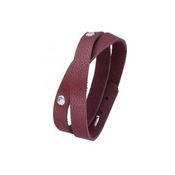 """Кожаный браслет цвета марсал с серебряным замком """"Крюк"""" и вставками Цветок 4421-Mr"""