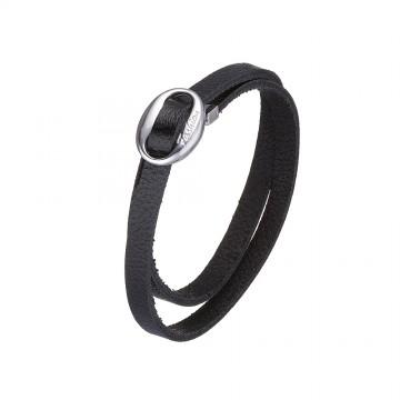 """Кожаный черный браслет с серебряной вставкой """"Fashion"""" 4424-4"""