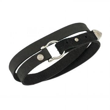 """Безразмерный кожаный браслет черного цвета с серебряными вставками """"Карабин"""" 4433-4"""