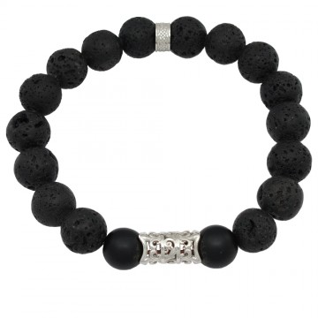 Браслет из Вулканической Лавы и Шунгита с серебряной вставкой Лилия и кольцо 4505