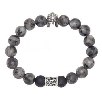 Браслет из Лабрадора, Шунгит с серебряными вставками Шлем Боченок 4540