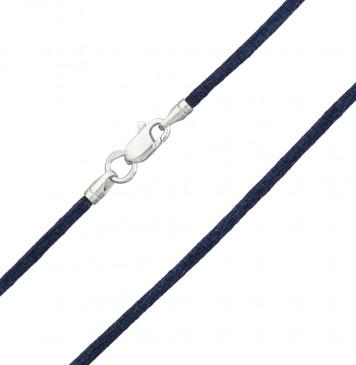 Гладкий шелк Темно синий 2.0 мм с серебряной застежкой 6101