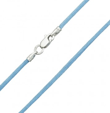 Гладкий шелк | Голубой 2.0 мм | с серебряной застежкой 6106