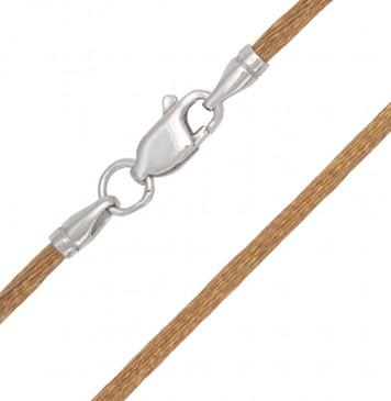 Гладкий шелк Золотистого цвета 2.0 мм с серебряной застежкой 6115