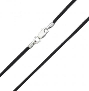 Гладкий Черный шелк 2.0 мм с серебряной застежкой 6117