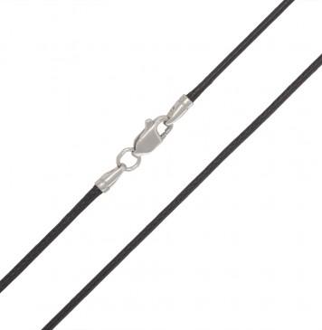 Вощеный шнурок 2.0 мм с серебряной застежкой 6119