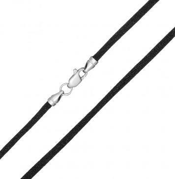 Гладкий шелк Черный 3.0 мм с серебряной застежкой 6152