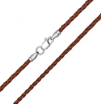 Плетеный шелк Светло Коричневый 2.5 мм с серебряной застежкой 6204