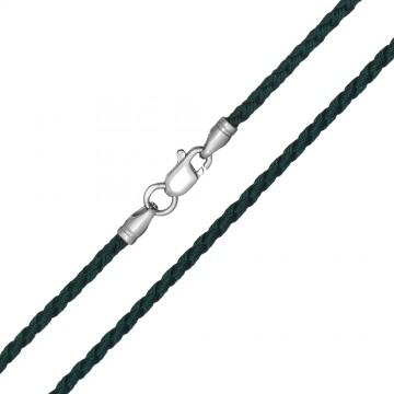 Плетеный шелк Зеленый 2.5 мм с серебряной застежкой 6216
