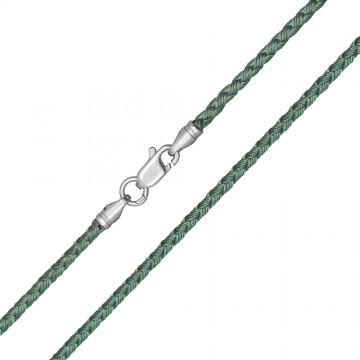 Плетеный шелк Зеленый 2.5 мм с серебряной застежкой 6217