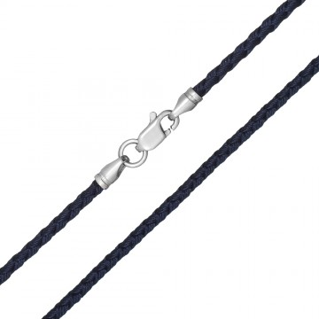 Плетеный шелк Синий 2.5 мм с серебряной застежкой 6220