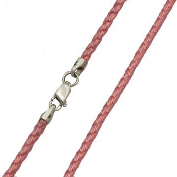 Плетеный шелк Розовый 2.5 мм с серебряной застежкой 6224